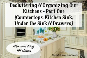 Homemaking 101: Decluttering & Organizing Our Kitchens – Part One {Countertops, Kitchen Sink, Under the Kitchen Sink & Drawers}