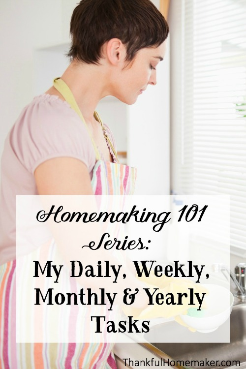 I'm just sharing today in a simple list format my home keeping tasks broken down into daily, weekly, monthly, semi annual and annual tasks. @mferrell