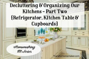 Homemaking 101 Series: Decluttering & Organizing Our Kitchens Part Two {Refrigerator, Kitchen Table & Cupboards}