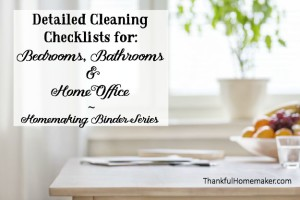Homemaking Binder Series: Detailed Cleaning Checklists for Bedrooms, Bathrooms & Home Office