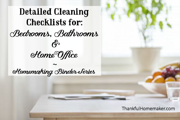 Homemaking Binder Series:Detailed Cleaning Checklists for: Bedrooms, Bathrooms & Home Office. @mferrell