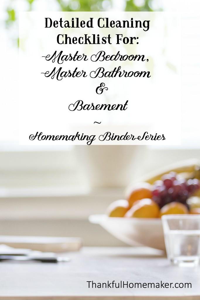 Homemaking Binder Series: Detailed Cleaning Checklist for Master Bedroom, Master Bathroom & Basement.  @mferrell
