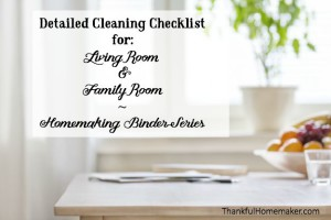 Homemaking Binder Series: Detailed Cleaning Checklists for Living Room & Family Room