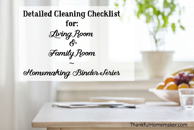 Homemaking Binder Series: Detailed Cleaning Checklists for Living ...