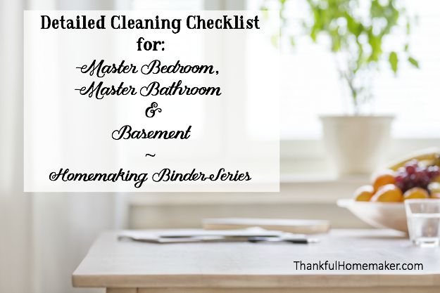 Homemaking Binder Series: Detailed Cleaning Checklists for Master Bedroom, Master Bathroom & Basement. @mferrell