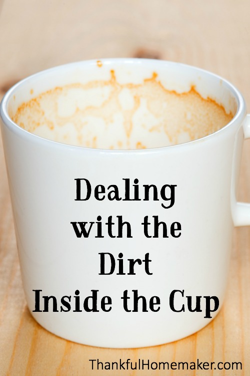 "It is really easy to look good on the outside. The Pharisees were great at ""cleaning the outside of the cup"" but how often do we seek to deal with the garbage that is inside the cup? @mferrell"