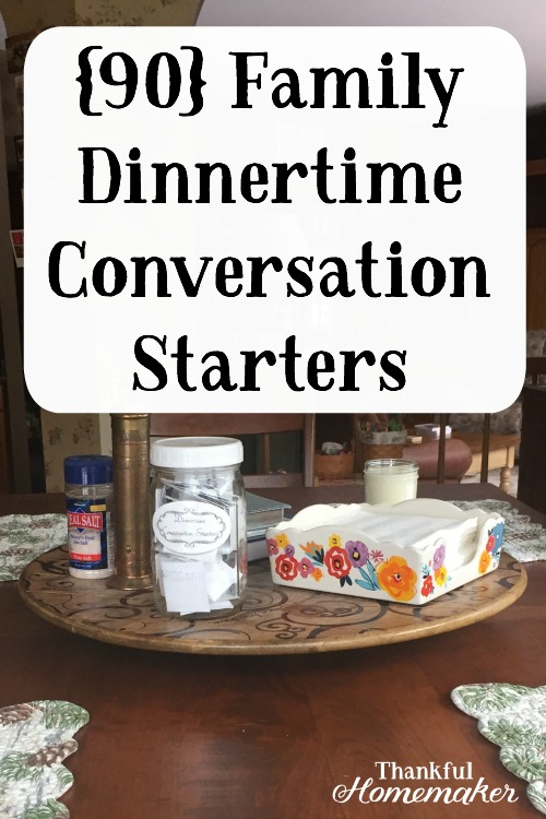 We like to have conversation starters handy to start a discussion going. I love them when we have company over for dinner too. Sometimes we'll put a question at everyone's place setting and take time after the meal to go around the table and answer the various questions. #familydinnerconversationstarters #familydinner @mferrell