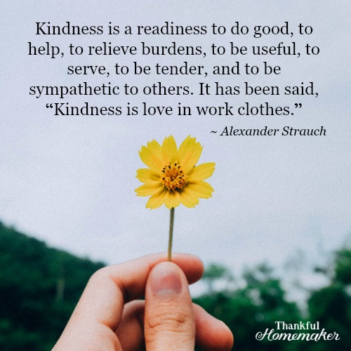 """Kindness is a readiness to do good, to help, to relieve burdens, to be useful, to serve, to be tender, and to be sympathetic to others. It has been said, """"Kindness is love in work clothes."""" Alexander Strauch @mferrell"""