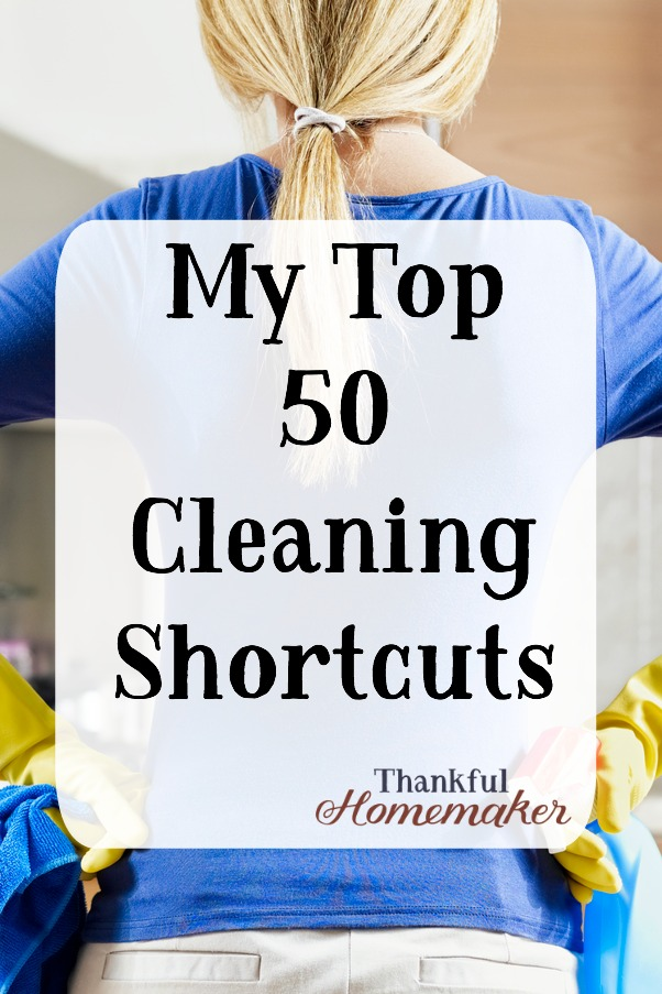 We all love to save time when we're cleaning, here are 50 shortcuts to help you do that. #cleaningshortcuts #cleaningtime-savers #cleaning @mferrell