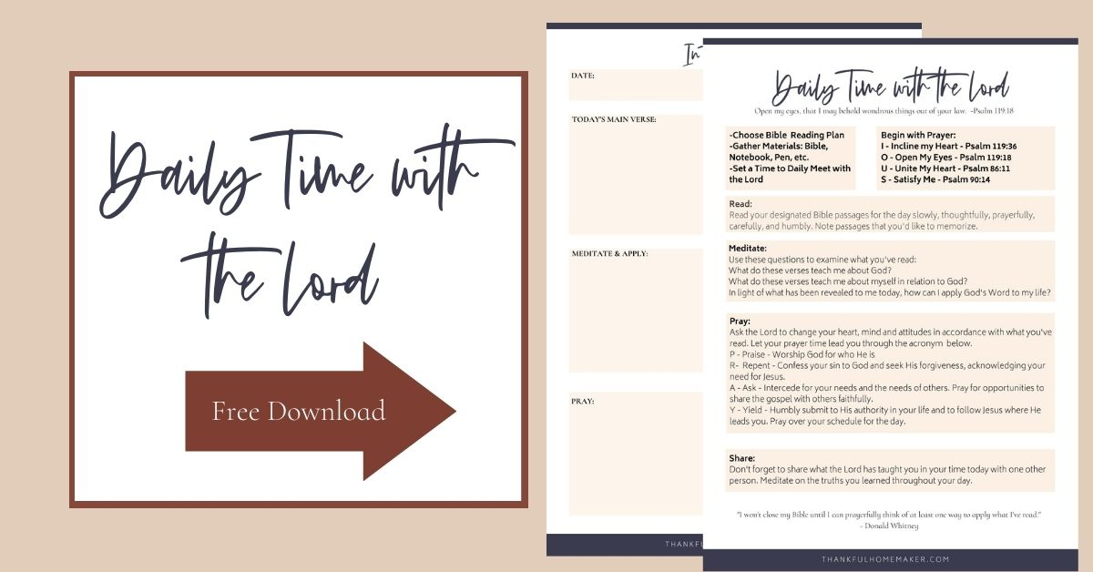 Grab a free copy of my guide to Daily Time with the Lord. It is to walk you through time in the Word and help you to meditate on and apply what you've read.  @mferrell
