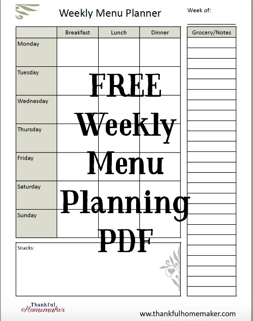 free weekly menu planning pdf thankful homemaker