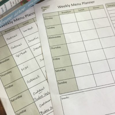 FREE Weekly Menu Planning PDF