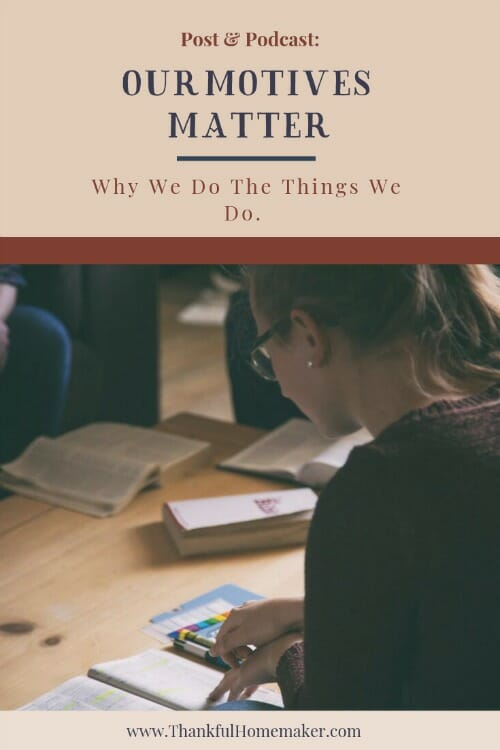 Our motives are the underlying reason for any action, yet we don't often give them much thought. Motives matter, and they matter to God. @mferrell