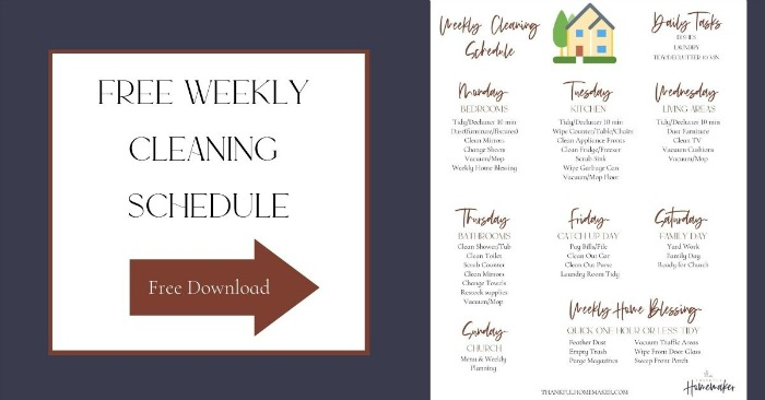 Weekly Cleaning Schedule Free PDF @mferrell