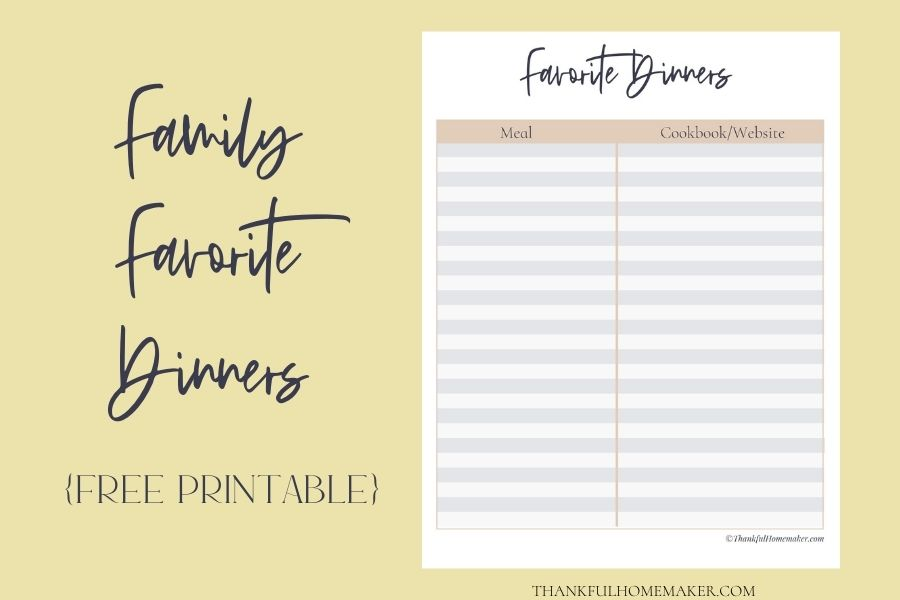 Family Favorite Dinners Free Printable