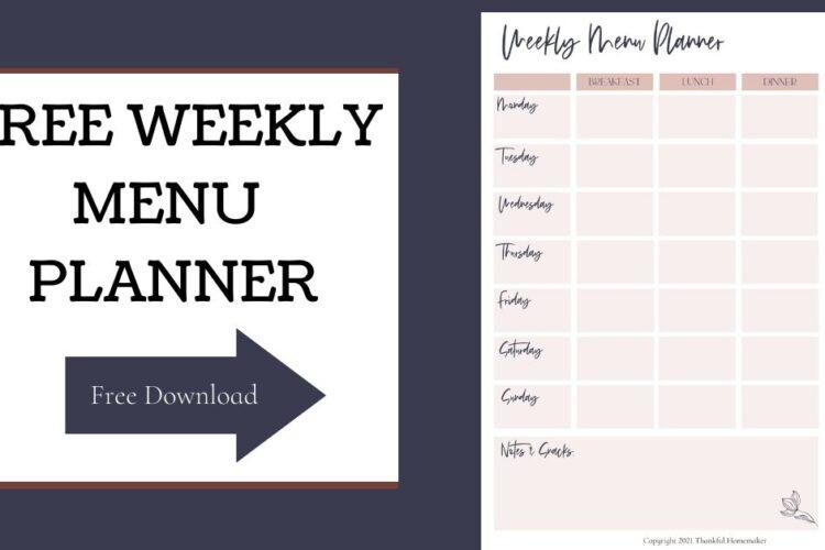 Free Weekly Menu Planning PDF @menuplanner #freemenuplanningpdf #weeklymenuplan